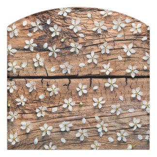 Spring Flowers on Wood Background Door Sign