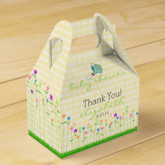 Spring Flowers On Yellow Plaid Baby Shower Favour Box