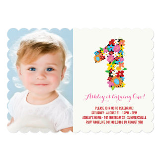 Spring Flowers One Baby Girl First Birthday Photo Cards