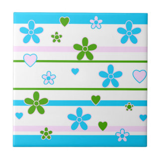 Spring Flowers Pattern Small Square Tile