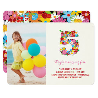 Spring Flowers Pink Girl 5th Birthday Photo Invite