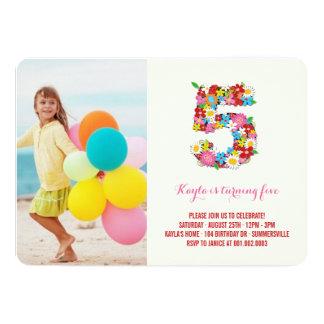 Spring Flowers Pink Girl 5th Birthday Photo Invite