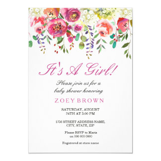 Spring Flowers Pink Peach Baby Shower Invitation