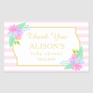 Spring Flowers Pink Stripes Baby Shower Stickers
