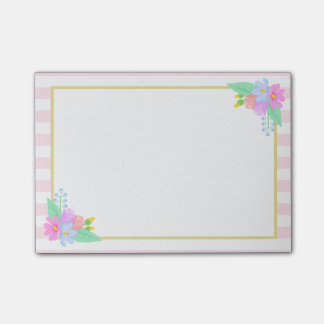 Spring Flowers Pink Stripes Post-it® Notes 4 x 3