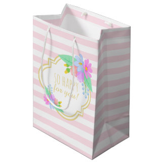 Spring Flowers Pink Strips Baby Shower Gift Bag