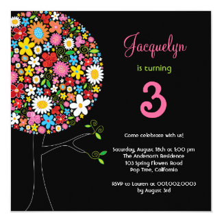 "Spring Flowers Pop Tree Birthday Party Invite 5.25"" Square Invitation Card"