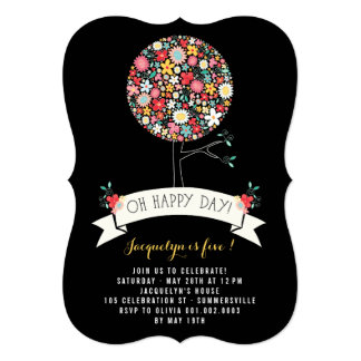 Spring Flowers Pop Tree Birthday Party Invite