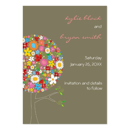 Spring Flowers Pop Tree Mini Save-the-Date Business Card Templates