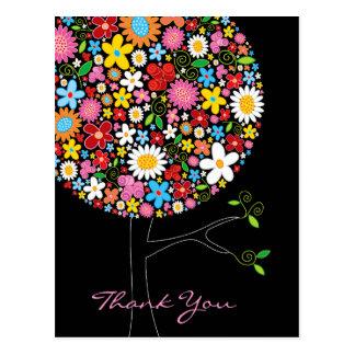 Spring Flowers Pop Tree Thank You Postcard