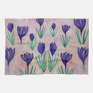 Spring Flowers, Purple Crocus Tea Towel