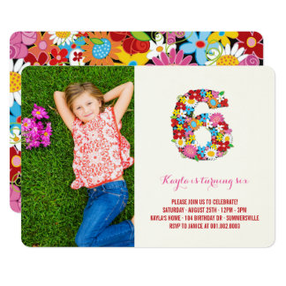 Spring Flowers Six Girl 6th Birthday Photo Invite