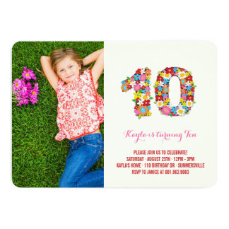 Spring Flowers Ten Young Girl 10th Birthday Photo 5x7 Paper Invitation Card
