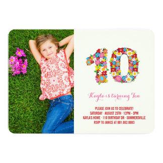 Spring Flowers Ten Young Girl 10th Birthday Photo 13 Cm X 18 Cm Invitation Card
