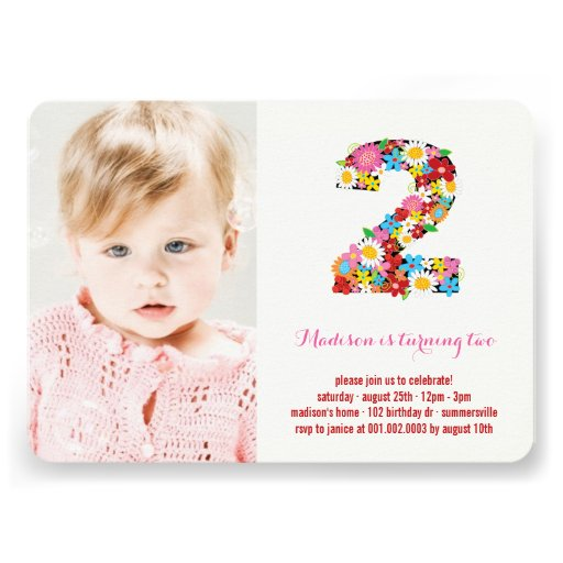 Spring Flowers Two Baby Girl 2nd Birthday Photo Custom Announcement