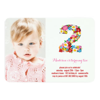 Spring Flowers Two Baby Girl 2nd Birthday Photo 4.5x6.25 Paper Invitation Card