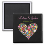 Spring Flowers Valentine Heart Love Save The Date Square Magnet