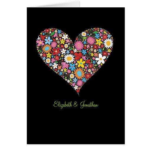 Spring Flowers Valentine Heart Wedding Invite Card