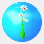 Spring Flowers Vase Round Stickers