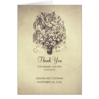 Spring Flowers Vintage Wedding Thank You Card