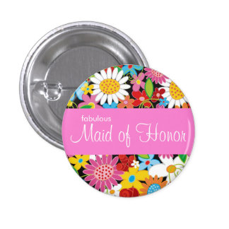 Spring Flowers Wedding Chic Maid Of Honor Name Tag 3 Cm Round Badge