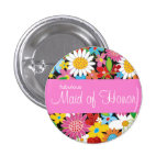 Spring Flowers Wedding Chic Maid Of Honor Name Tag Pinback Button