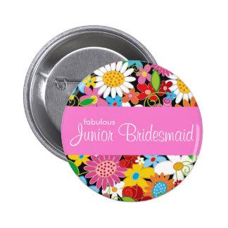 Spring Flowers Wedding Junior Bridesmaid Name Tag 6 Cm Round Badge