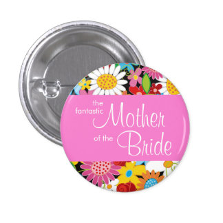 Spring Flowers Wedding Mother Of Bride Name Tag 3 Cm Round Badge