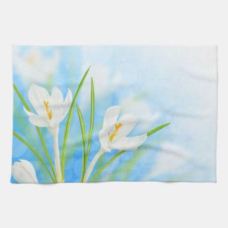 Spring flowers (white crocus) tea towel