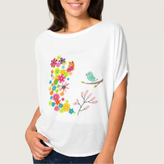 spring flowers with a bird and a butterfly t-shirt