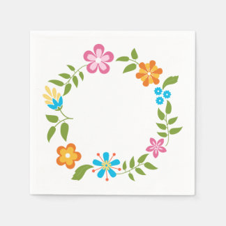 Spring Flowers Wreath Disposable Napkins