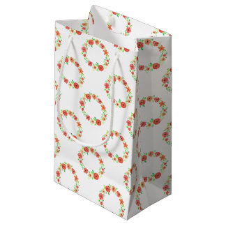 Spring flowers wreath small gift bag