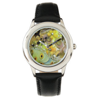 Spring, flowers, yellow, bird, green, photography wristwatch