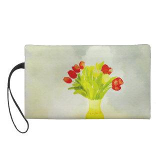 spring flowers yellow vase Bagettes Bag Wristlet