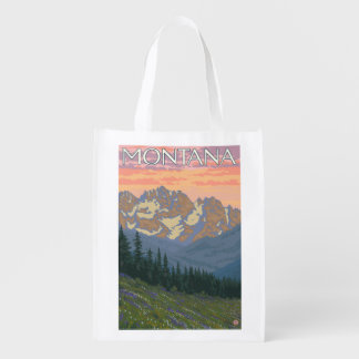 Spring FlowersMontanaVintage Travel Poster Reusable Grocery Bag