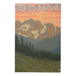 Spring FlowersMontanaVintage Travel Poster Wood Canvas