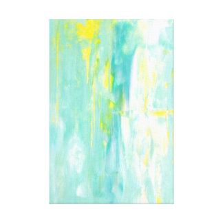 'Spring Forward' Turquoise and Yellow Abstract Art Canvas Print