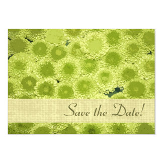 Spring fresh green floral petals save the date 13 cm x 18 cm invitation card