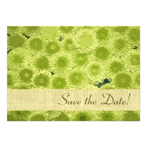Spring fresh green floral petals save the date custom invite