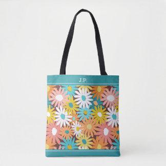 Spring garden daisies monogram tote bag