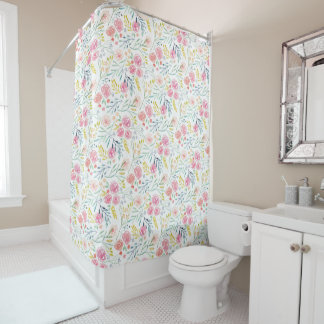 Spring Garden Painted Floral Shower Curtain