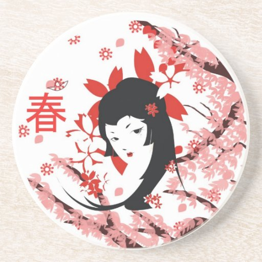Spring Geisha Coasters