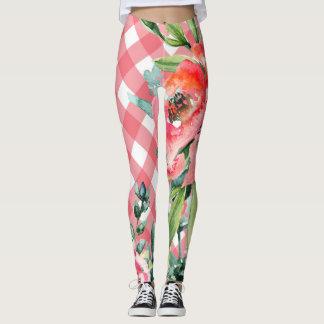 Spring Gingham Floral leggings