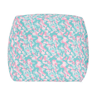Spring Girly Camouflage Pattern Pouf