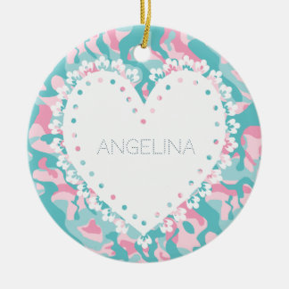 Spring Girly Camouflage Personalize Ceramic Ornament