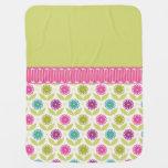 Spring Girly Flowers Stroller Blanket