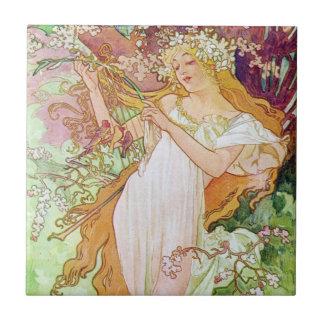 Spring Goddess Small Square Tile