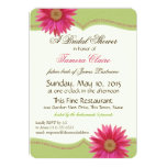 Spring Green and Fuschia Pink Daisy Bridal Shower 13 Cm X 18 Cm Invitation Card