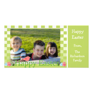 Spring Green and White Checkers Easter Eggs Customised Photo Card