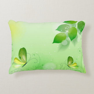 Spring Green Background With Butterfly Decorative Cushion